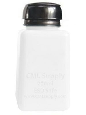 CML Supply Safety Pump Bottle, HDPE Stainless Steel ESD Safe 6oz 200ml White