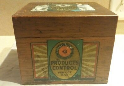 General Mills Products Control Wood Service Recipe Box • Vintage