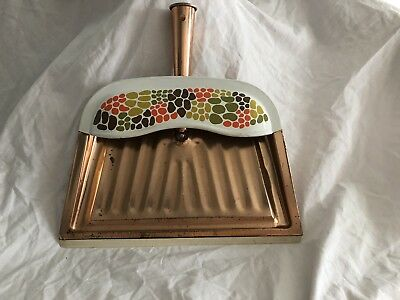 Vintage Metal  Copper Color J. V. Reed Dust Pan Geometric Brown Avocado Orange