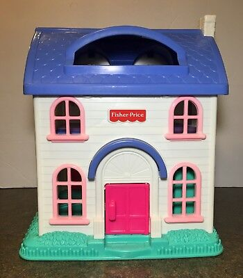 Vintage Fisher Price Little People Doll House 5 Rooms 1996 Folds Up