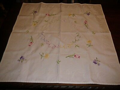 vintage  flower tablecloth embroided 80 cm square
