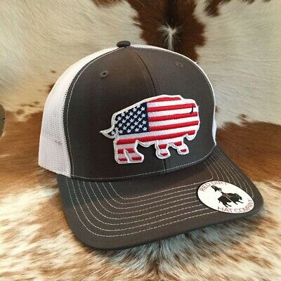 526515523308a Red Dirt Hat Co. USA Buffalo Charcoal White Trucker Snapback Cap RDHC3