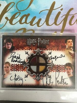 Harry Potter Quad Card Autograph Daniel Radcliffe Costume Tri Wizard Rare Artbox