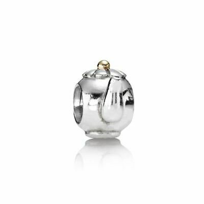 Authentic Pandora Charm Two Tone Teapot Sterling Silver with 14K #790250