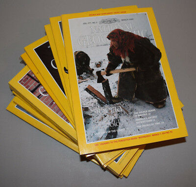 Lot of 11 Vintage National Geographic Magazines Back Issues 1990 History #2