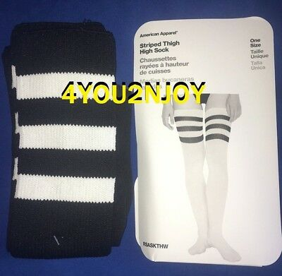 c24d961be74d3 New American Apparel Thigh High Socks Black White Over The Knee Halloween  Boot
