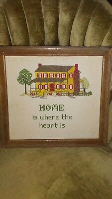 Vintage/Antique Sampler of Home is where the heart is in oak frame