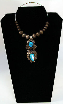 """Navajo Sterling Silver and Turquoise Necklace w/ Pendant 3"""" x 1 3/8"""" Carl Luthy"""