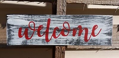 farmhouse wood sign WELCOME home decor wooden rustic porch entry small 12 inch