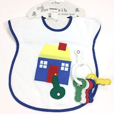 Vintage Baby Bib Burp Cloth Toddler Attached Keys Toy Blue Trim Crib Mate