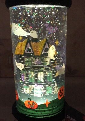 """Lighted Water Halloween Snow Globe Swirling 13"""" Ghost Haunted House Night Light"""