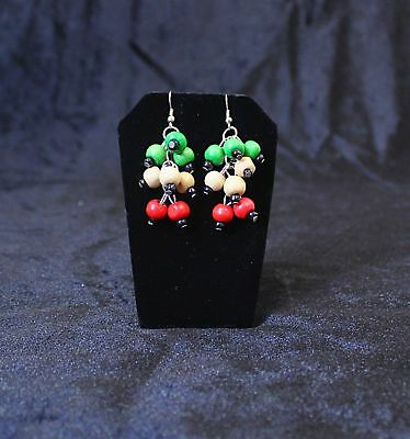 Red, White and Green Bead Earrings