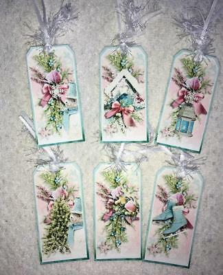Set of 6 Hang Tags~Shabby Winter Flakes~Gift Tags~Scrapbooking~Card's~#137R