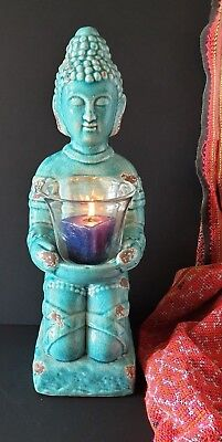 Old Porcelain Turquoise Buddha with Candle …beautiful display and accent piece