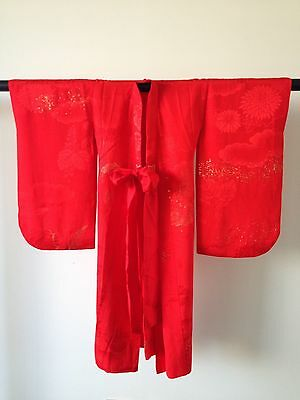 Red Silk Small Child's Vintage Antique Kimono Hand Made One of a Kind Old Kyoto