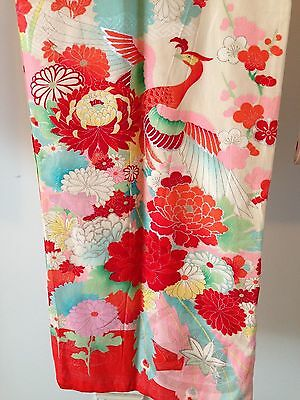 Embroidered Silk Vintage Antique Kimono Hand Made One of a Kind Old Kyoto