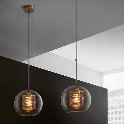 Industrial Minimalist Clear Glass Shade Brass Metal Mesh Suspended Pendant Light