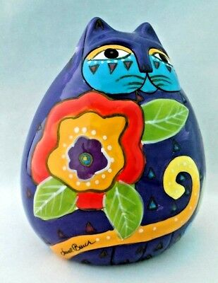 Laurel Burch by Ganz Colorful Handpainted Cat Coin Piggy Bank