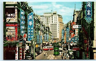 Central Hong Kong Des Voeux Road Street View Old Cars Signs 1970s Postcard D38