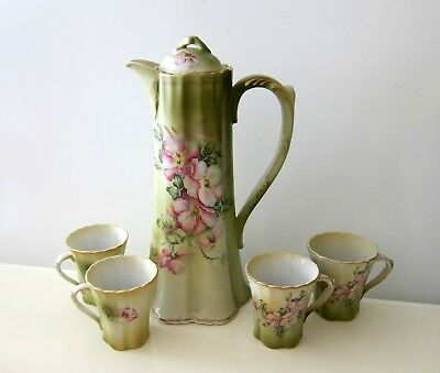 5  Hand Painted  Flowers Chocolate Pot Cups Japan Marked Nippon