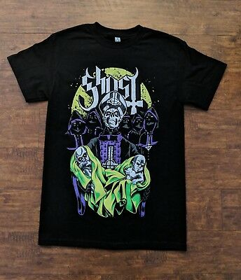Ghost Swedish Rock Band Papa Emeritus With Babies Green Purple Design T Shirt