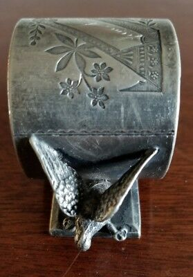 Rogers Bros. #146 Triple Plate Silverplate Figural Napkin Ring Eagles / Doves