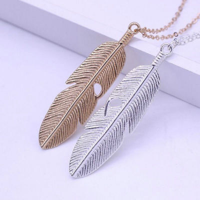 Women Feather Pendants Long Chain Necklace Sweater Statement Vintage Jewelry