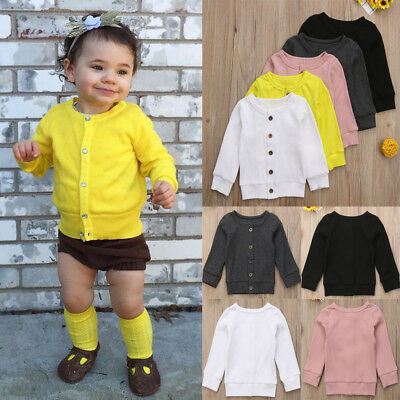 US Seller Toddler Baby Kid Girl Boy Knitted Sweater Cardigan Colorful Top Outfit