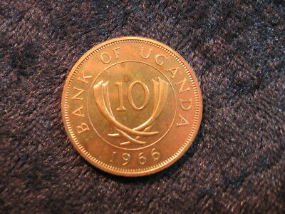 """1 old world Proof coin UGANDA AFRICA 10 cents 1966 KM2 """"tusks"""" low mintage"""
