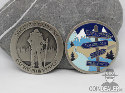 Cache the World Geocoin - ARCTIC / Nickel Antik / LE / unaktiviert / NEU