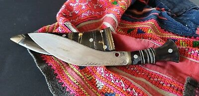 Old Nepalese Kukri Small Dagger with Buffalo Horn Handle and Sheath