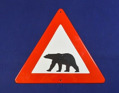 Antique Vintage Enamel Porcelain Road Sign Warning For Bear Rare Original