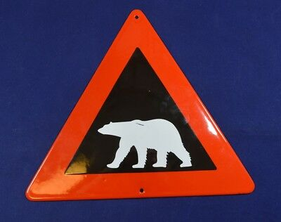 Antique Vintage Enamel Porcelain Road Sign Warning For Bear Original Rare #1