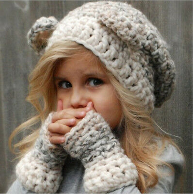 Cute Kids Caps Kintted Woolen Scarves  Cap Glove for Kids Winter