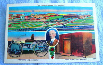 Vintage FORD MOTOR CO Postcard: HENRY FORD FACTORY; Unposted