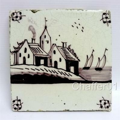 Willem IV Dutch Manganese Delftware TILE c 1780 with Farmhouse Scene