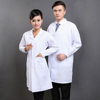 S-3XL Men Women Medical Nurse Doctor White Unisex Long Lab Coat Uniform Coat Hot