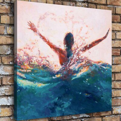 "16""x16"" Mermaid Abstract Waves HD Canvas prints Painting Home Decor Wall art"