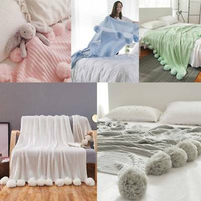 Soft Reversible Pom Pom Knitted Throw Baby Crochet Blanket Cotton Rug Bed Sofa