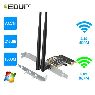 EDUP AC1300 1300Mbps Dual Band PCI Express Wireless WiFi Adapter  2.4GHz 5.8GHz