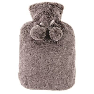 Aroma Home Grey Faux Fur Hot Water Bottle & Scented Satin Eye Mask Gift Set