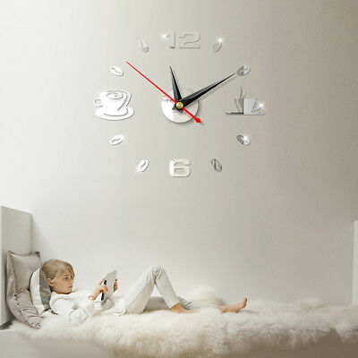 Removable DIY Acrylic 3D Mirror Wall Sticker Decorative Clock Bell Accessories