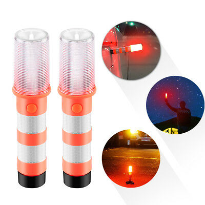 2X 3 In 1 Road Warning Beacon LED Emergency Roadside Flares Safety Strobe Light