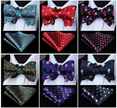 Classic Christmas Party Gift  Self Bow Tie Red Blue Men Bow Tie Handkerchief Set