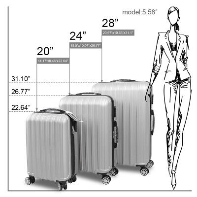 "3PCS Luggage ABS Trolley Suitcase Set Trip Business Case 20"" 24"" 28"" W/ Covers"