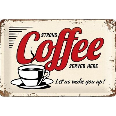 A4 Retro Metal Embossed Sign 'STRONG COFFEE SERVED HERE' 20x30cm Vintage Design