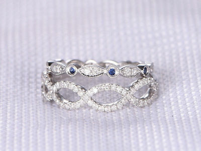 2.20 Ct Forever Diamond Twisted Engagement Eternity Band Sterling Silver Round