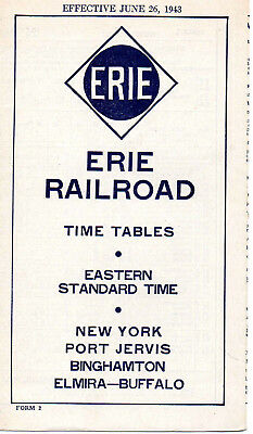 Erie RR Public Timetable June 26 1943