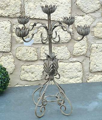 bougeoir chandelier a bougie de table an fer candelabre style ancien 53cm