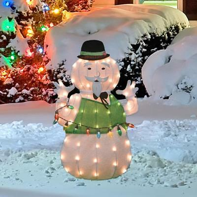 lighted tinsel rudolph movie sam the snowman sculpture outdoor christmas decor - Outdoor Lighted Tinsel Christmas Decorations